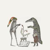 Edward Gorey Christmas alligator robot
