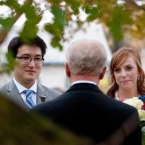 wedding ceremony through a tree