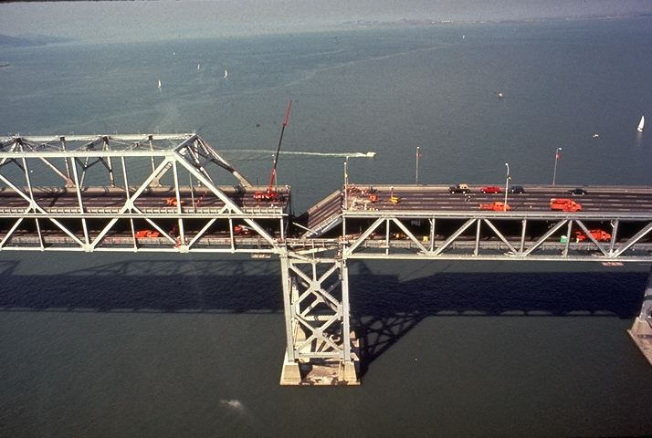 Bay Bridge upper deck collapse after Loma Prieta Earthquake of 1989. From United States Geological Society.