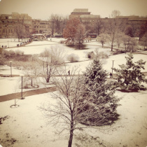 Snow on IU campus in Bloomington IN