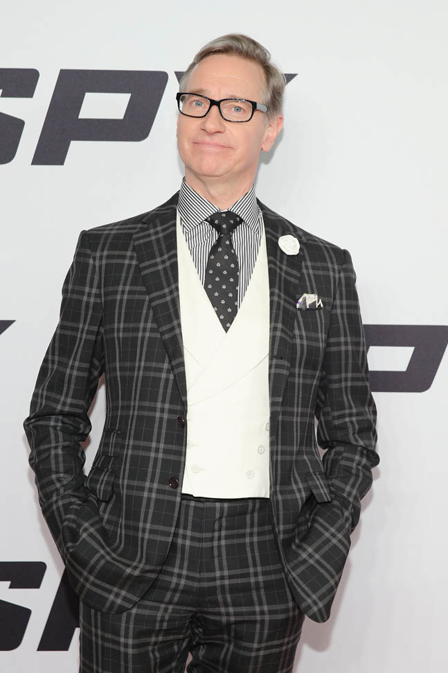 Paul Feig in a lot of black and white patterns